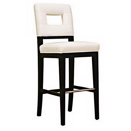 """Faustino 30"""" White Bycast Leather Bar Stool"""