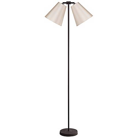 Lights Up! Zoe Twin Croissant Silk Glow Iron Floor Lamp
