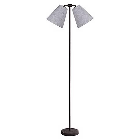Lights Up! Zoe Twin Penguin Tweed Iron Floor Lamp