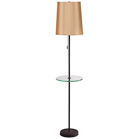 Lights Up! Zoe Gold Silk Glow Floor Lamp with Tray