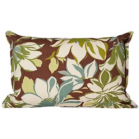 """Sarah Brown Floral 17"""" Wide Outdoor Throw Pillow"""