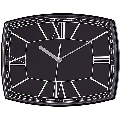 "Roman Numeral 12"" Wide Black Rectangular Clock"