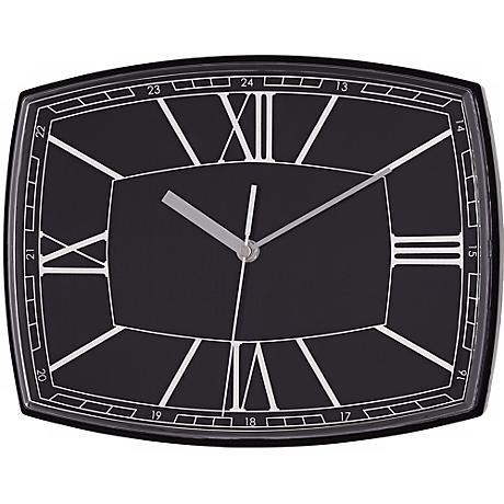 "Roman Numeral 12"" Wide Black Rectangular Clock"