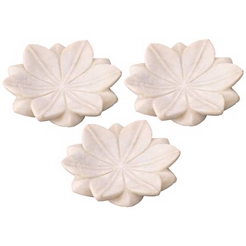 Jamie Young Set of 3 Small Marble Lotus Plates