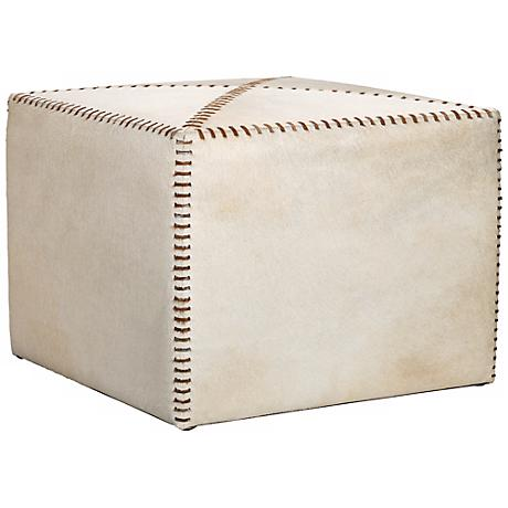 Jamie Young Large Square White Hide Leather Ottoman