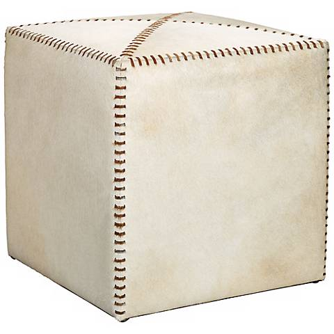 Jamie Young Small White Hide Leather Ottoman