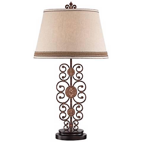 Metal Scroll Medallion Table Lamp