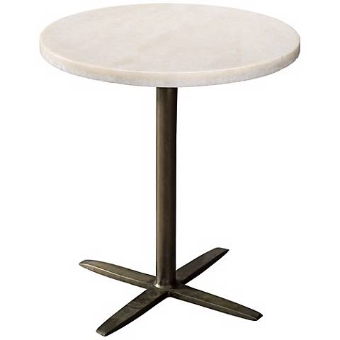 Jamie Young Berlin White Marble Accent Table