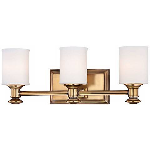point 3 light 19 wide liberty gold bath light w6792 lamps plus. Black Bedroom Furniture Sets. Home Design Ideas