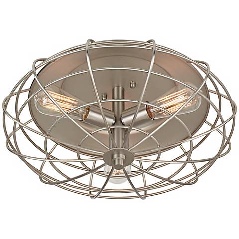 """Industrial Cage 8 1/2"""" High Ceiling Light with Edison Bulbs"""