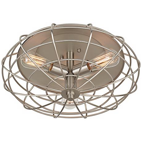 "Industrial Cage 8 1/2"" High Ceiling Light with Edison Bulbs"