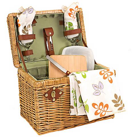 Picnic Time Botanica Napa Wicker Picnic Basket Set