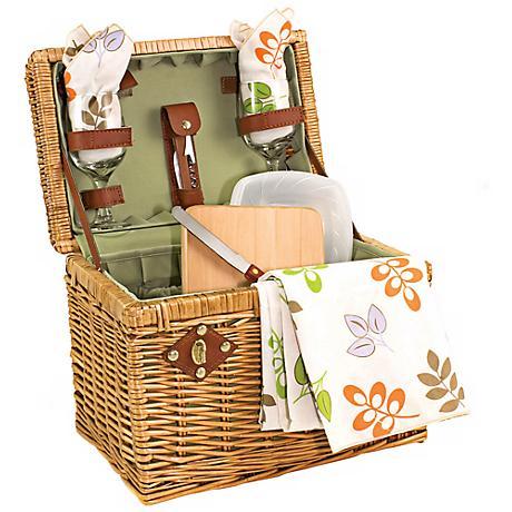 Picnic Time Botanica Napa Wicker Picnic Basket Set