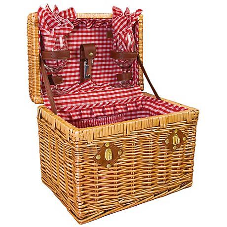 Picnic Time Chardonnay Wicker Wine Picnic Basket Set