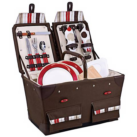 Picnic Time Moka Pioneer Canvas Picnic Basket Set
