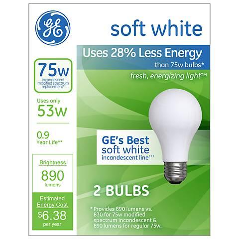 GE 75 Watt Equivalent 2-Pack Soft White Halogen Light Bulbs
