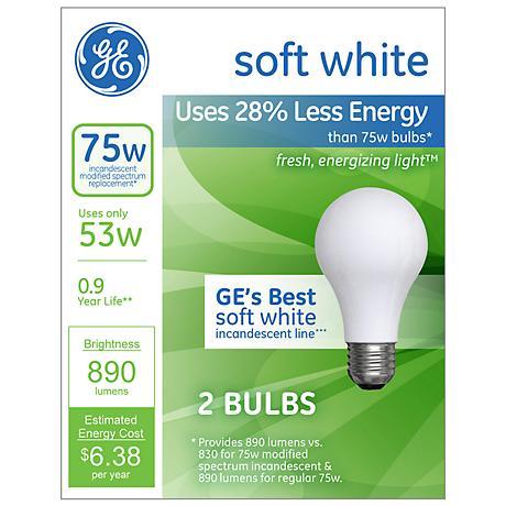 GE 53 Watt 2-Pack Soft White Halogen Light Bulbs