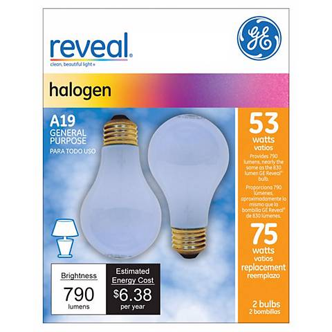 GE 53 Watt 2-Pack A-19 Reveal Halogen Light Bulbs