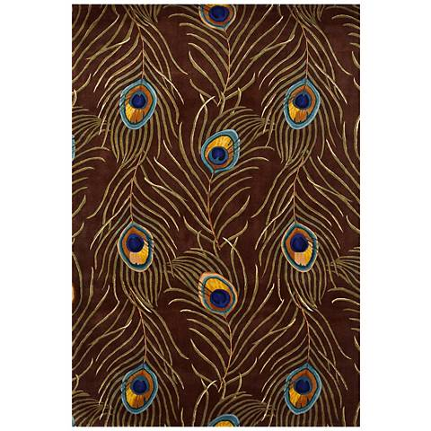Catalina Collection Mocha Peacock Area Rug