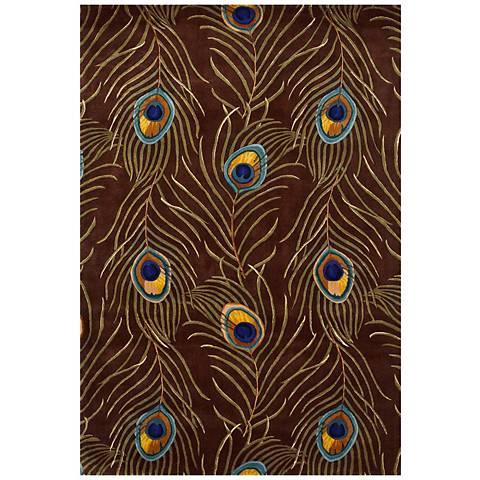 Catalina Collection Mocha Peacock Area Rug