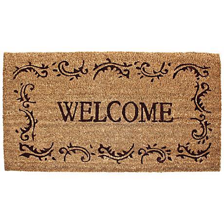 Welcome Filigree Printed Coir Doormat