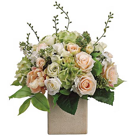 Peony Rose And Hydrangea 19 Quot H Faux Silk Floral Arrangement