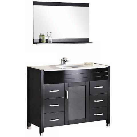 "Waterfall 47 1/4"" Wide Espresso Single Sink Vanity Set"