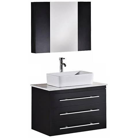 "Elton Espresso White Marble 30"" Wide Floating Vanity Set"
