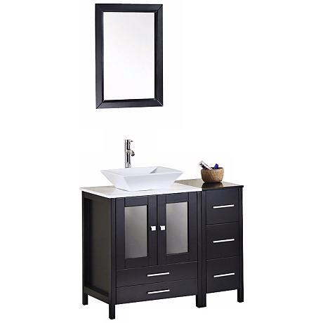 "Arlington Espresso 36"" White Marble Single Sink Vanity Set"