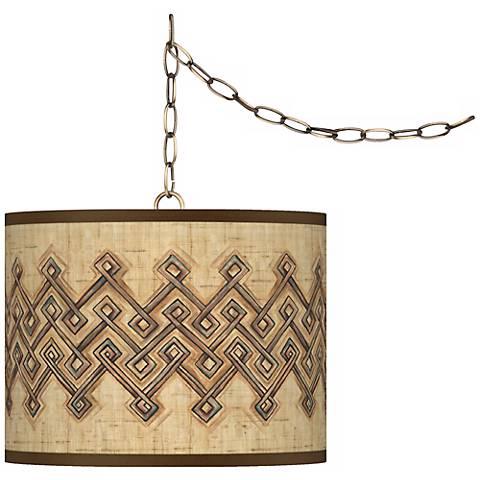 "Corinthia Giclee Glow 13 1/2"" Antique Brass Swag Pendant"