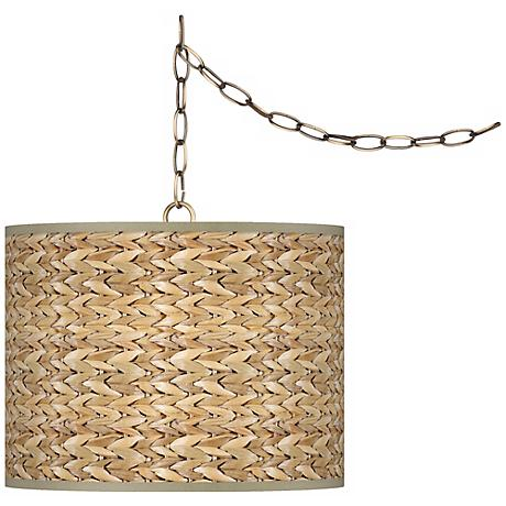 """Seagrass Giclee Glow 13 1/2"""" Antique Brass Swag Pendant"""