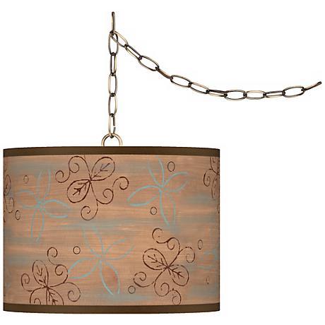 "Cedar Lake Giclee Glow 13 1/2"" Antique Brass Swag Pendant"