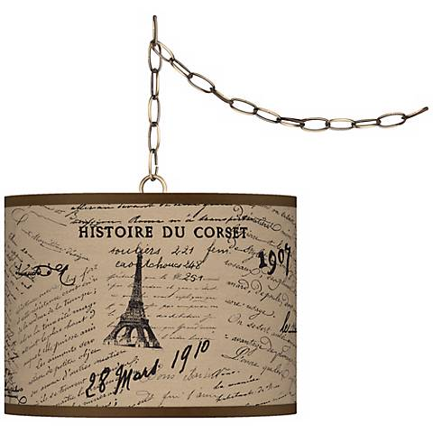 """Letters to Paris Giclee Glow 13 1/2"""" Brass Swag Pendant"""
