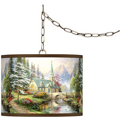 "Thomas Kinkade Dogwood Chapel 13 1/2"" Brass Swag Lamp"