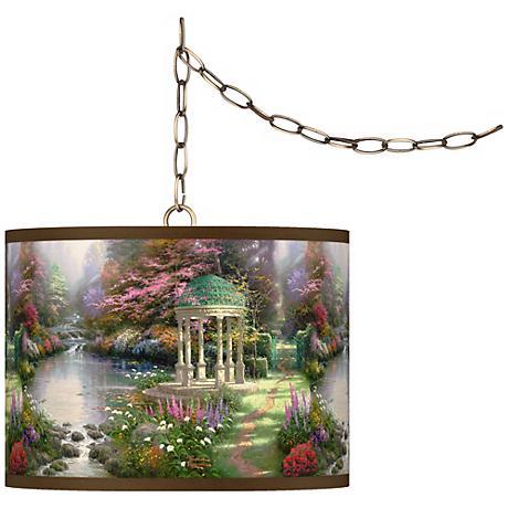 "Thomas Kinkade Garden of Prayer 13 1/2"" Brass Swag Lamp"