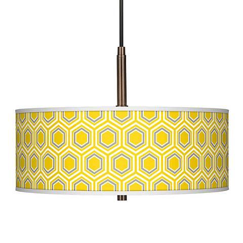 """Honeycomb Giclee Glow 16"""" Wide Bronze Pendant Chandelier"""