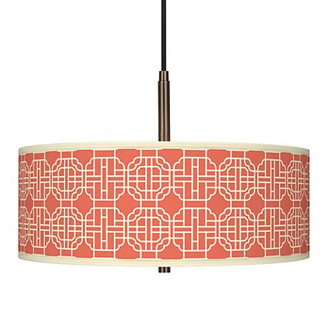 "Mandarin Giclee Glow 16"" Wide Bronze Pendant"