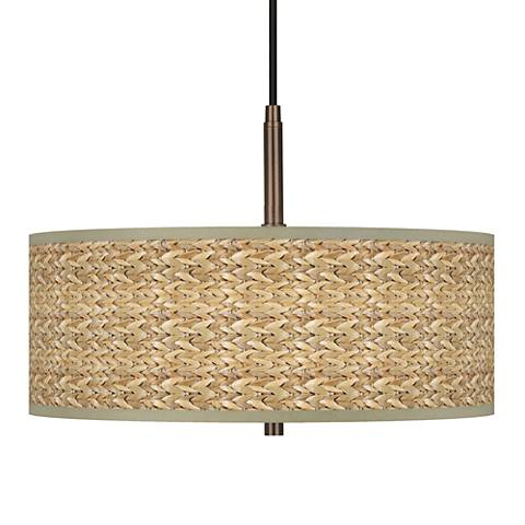"Seagrass Giclee Glow 16"" Wide Bronze Pendant Chandelier"