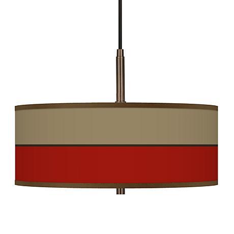 "Empire Red Giclee Glow 16"" Wide Bronze Pendant Chandelier"
