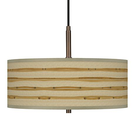 "Bamboo Wrap Giclee Glow 16""W Bronze Pendant Chandelier"