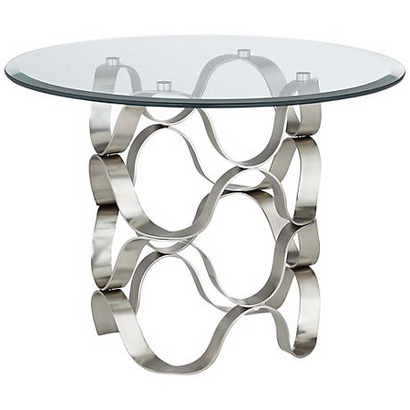 Waves Brushed Silver and Glass End Table
