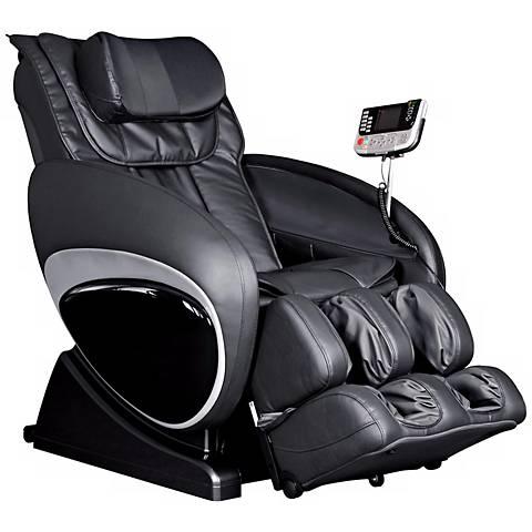 Black Faux Leather Zero Gravity Shiatsu Massage Chair