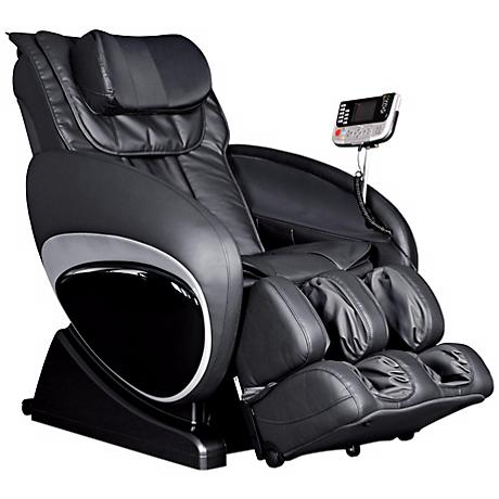 Black Faux Leather Zero Gravity Shiatsu Massage Chair