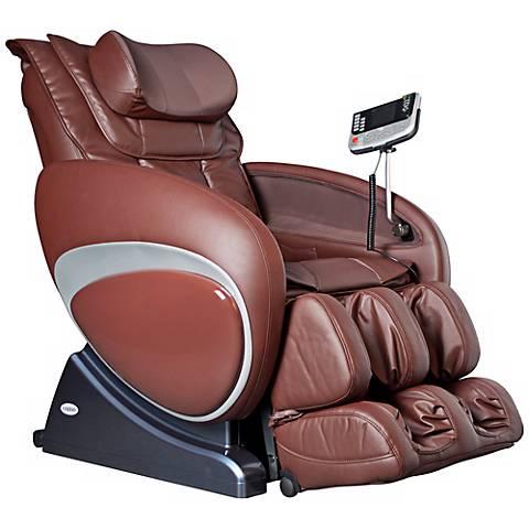Brown Faux Leather Zero Gravity Shiatsu Massage Chair