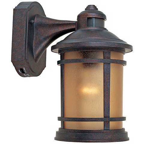"Sedona Motion Sensor 7"" Wide Patina Outdoor Wall Lantern"