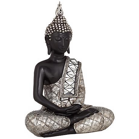 "Black and Silver 14 1/2"" High Sitting Buddha Sculpture"