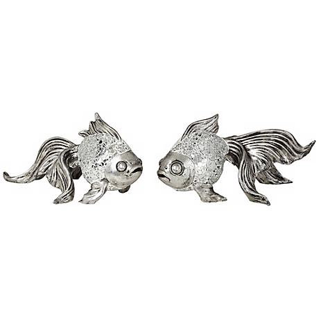 "Set of Two Silver Mosaic Koi Fish Accents 9 1/2"" Wide"