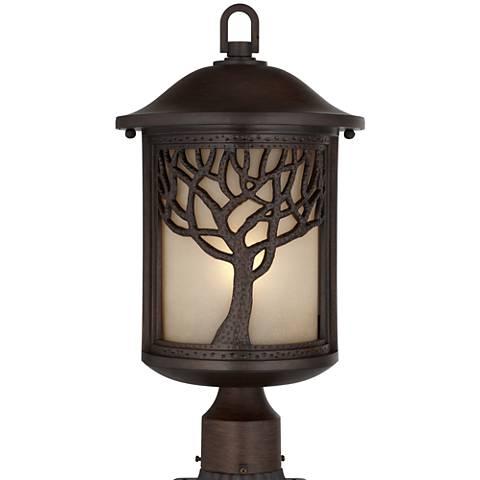 "Mission Style Oak Tree 18 3/4"" High Bronze Finish Post Light"