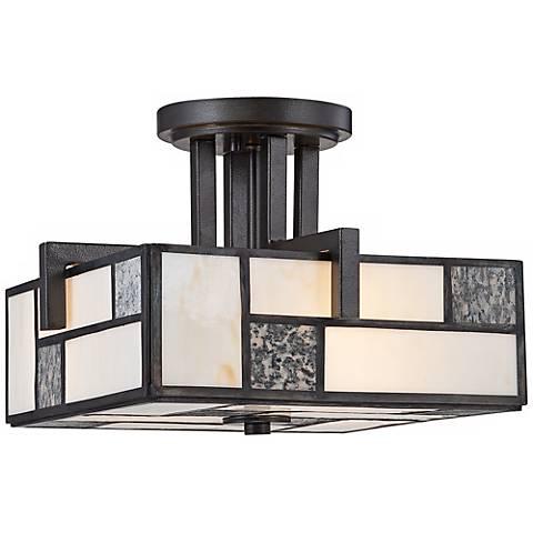 "Bradley 13 1/2"" Wide Charcoal Art Glass Ceiling Light"