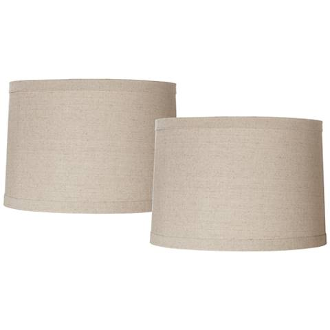 Natural Linen Set of 2 Drum Shades 15x16x11 (Spider)